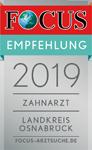 Focus Empfehlung 2019 - Zahnarzt im Landkreis Osnabrück