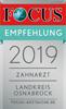 Focus Empfehlung 2019 - Zahnarzt Landkreis Osnabrück